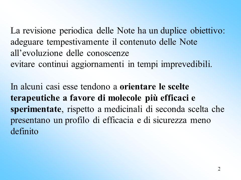 La revisione periodica delle Note ha un duplice obiettivo: adeguare tempestivamente il contenuto delle Note all'evoluzione delle conoscenze evitare continui aggiornamenti in tempi imprevedibili.