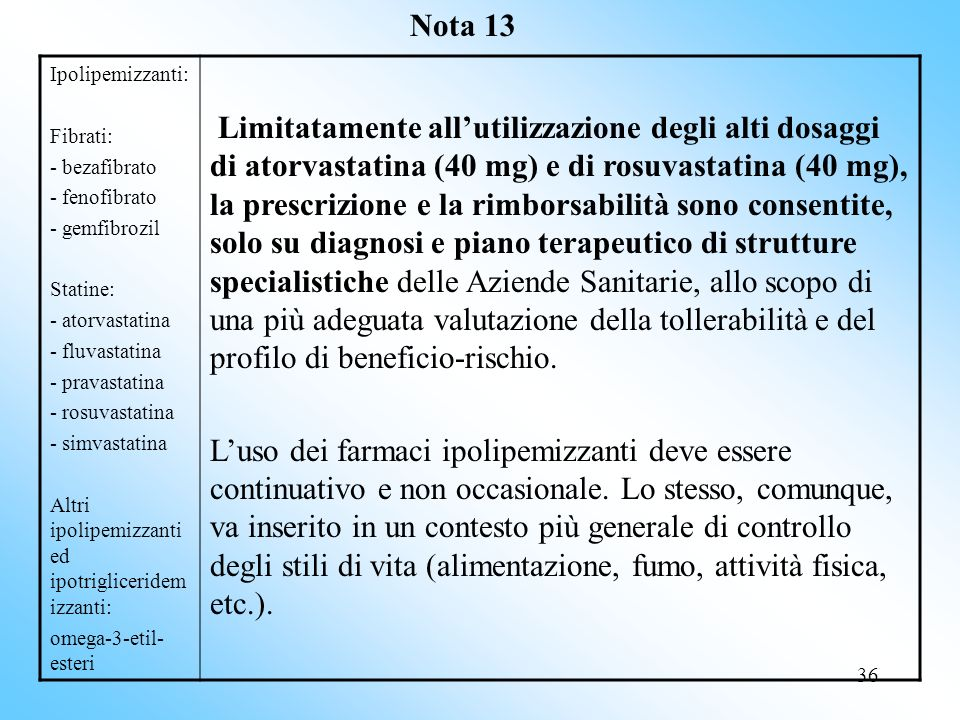 Nota 13 Ipolipemizzanti: Fibrati: - bezafibrato. - fenofibrato. - gemfibrozil. Statine: - atorvastatina.
