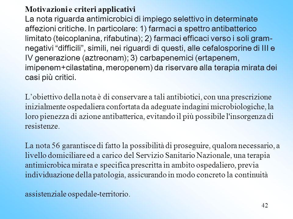 Motivazioni e criteri applicativi La nota riguarda antimicrobici di impiego selettivo in determinate affezioni critiche.