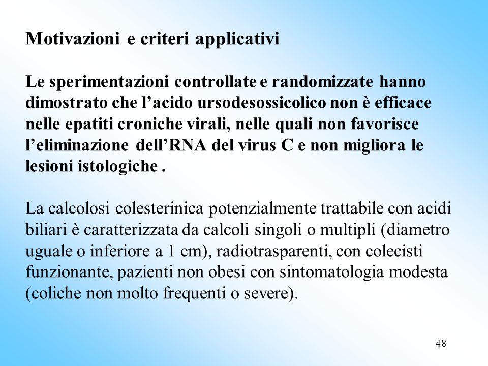 Motivazioni e criteri applicativi Le sperimentazioni controllate e randomizzate hanno dimostrato che l'acido ursodesossicolico non è efficace nelle epatiti croniche virali, nelle quali non favorisce l'eliminazione dell'RNA del virus C e non migliora le lesioni istologiche .