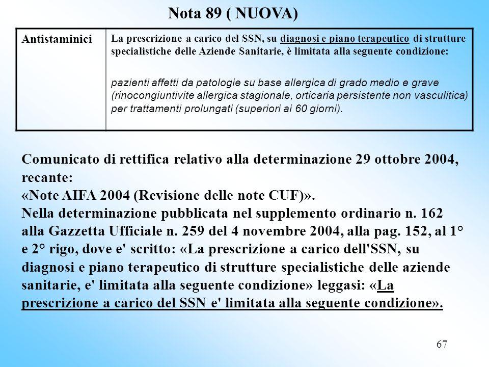 Nota 89 ( NUOVA) Antistaminici.