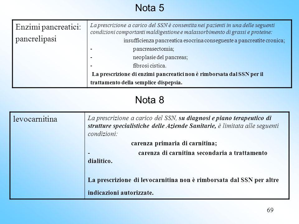 Nota 5 Nota 8 Enzimi pancreatici: pancrelipasi levocarnitina