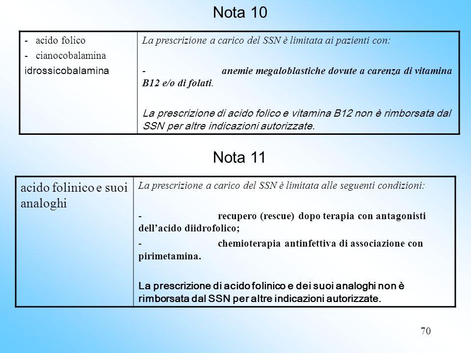 Nota 10 Nota 11 acido folinico e suoi analoghi - acido folico