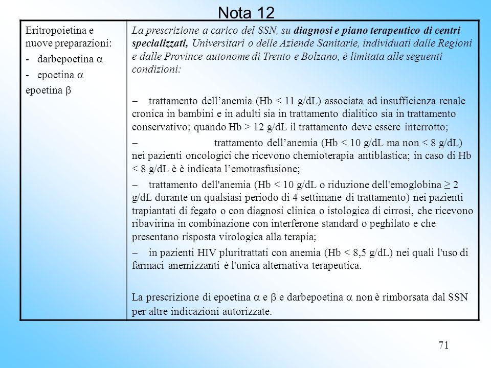 Nota 12 Eritropoietina e nuove preparazioni: - darbepoetina 