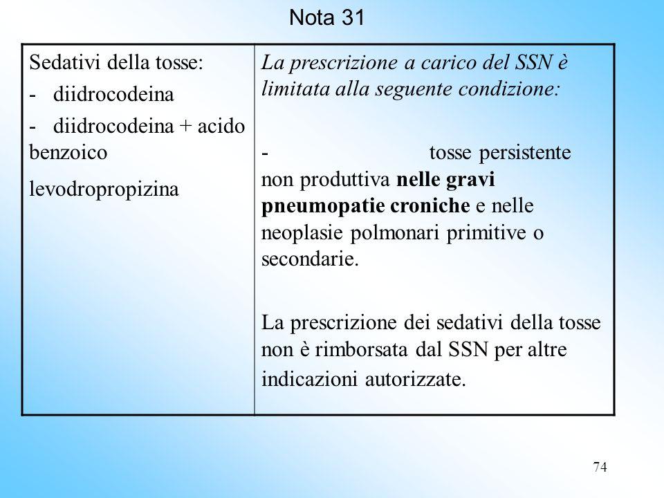 Nota 31 Sedativi della tosse: - diidrocodeina. - diidrocodeina + acido benzoico. levodropropizina.