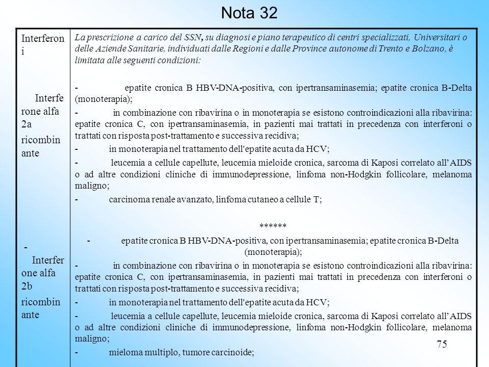 Nota 32 Interferoni Interferone alfa 2a ricombinante