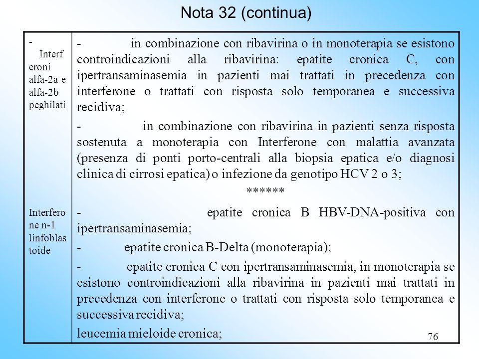 Nota 32 (continua) - Interferoni alfa-2a e alfa-2b peghilati. Interferone n-1 linfoblastoide.
