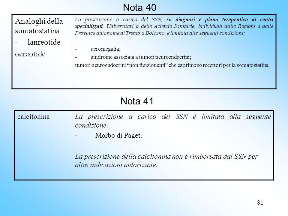 Nota 40 Nota 41 Analoghi della somatostatina: - lanreotide ocreotide