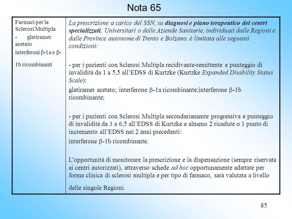Nota 65 Farmaci per la Sclerosi Multipla. - glatiramer acetato. interferoni -1a e -1b ricombinanti.