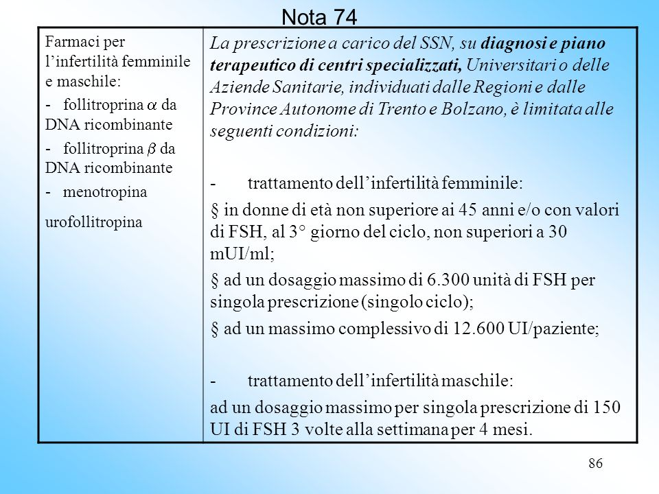 Nota 74 Farmaci per l'infertilità femminile e maschile: - follitroprina  da DNA ricombinante. - follitroprina  da DNA ricombinante.
