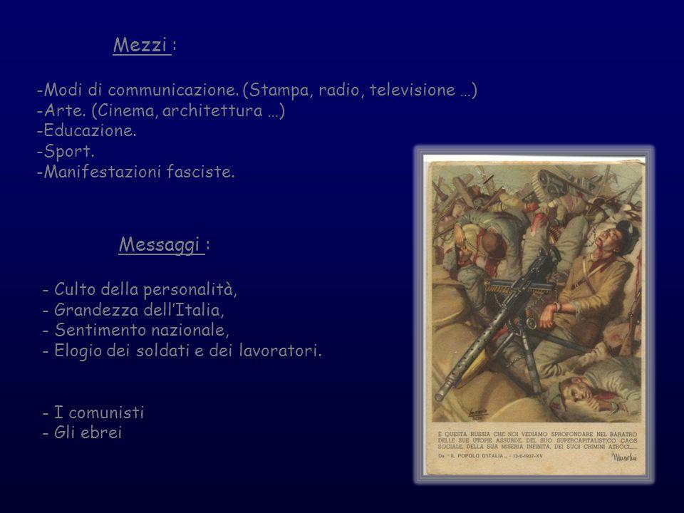 Mezzi :-Modi di communicazione. (Stampa, radio, televisione …) -Arte. (Cinema, architettura …) -Educazione.