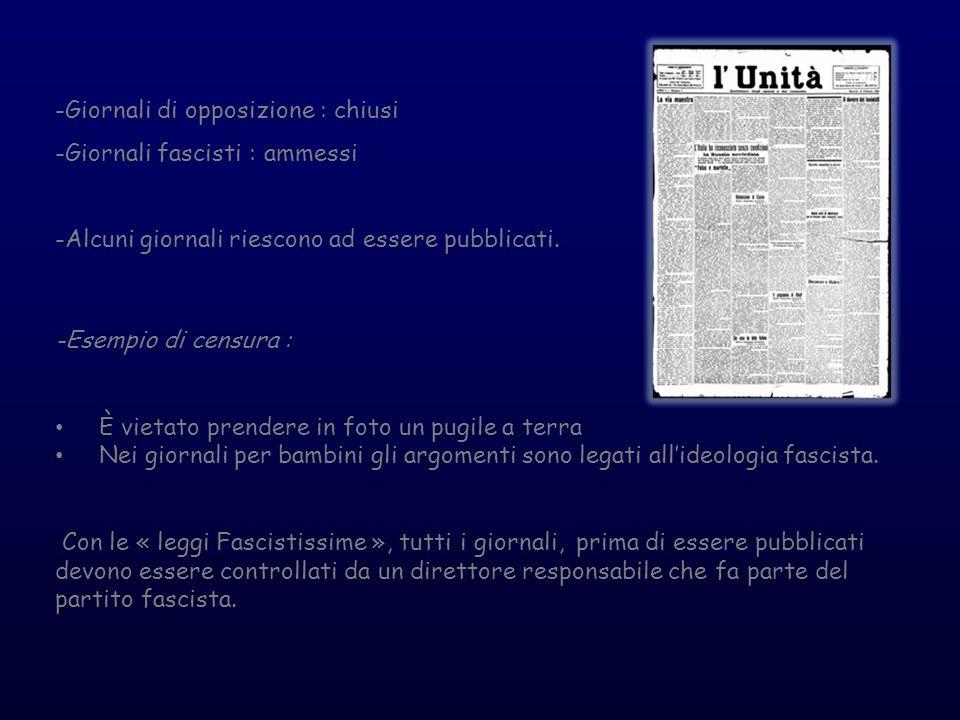 -Giornali di opposizione : chiusi