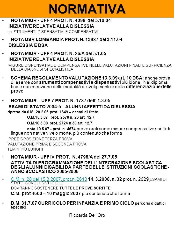NORMATIVA NOTA MIUR - UFF 4 PROT. N. 4099 del 5.10.04