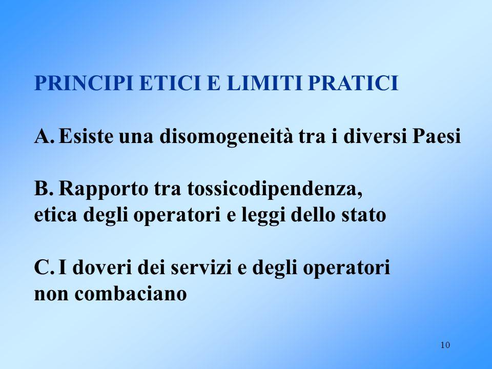 PRINCIPI ETICI E LIMITI PRATICI