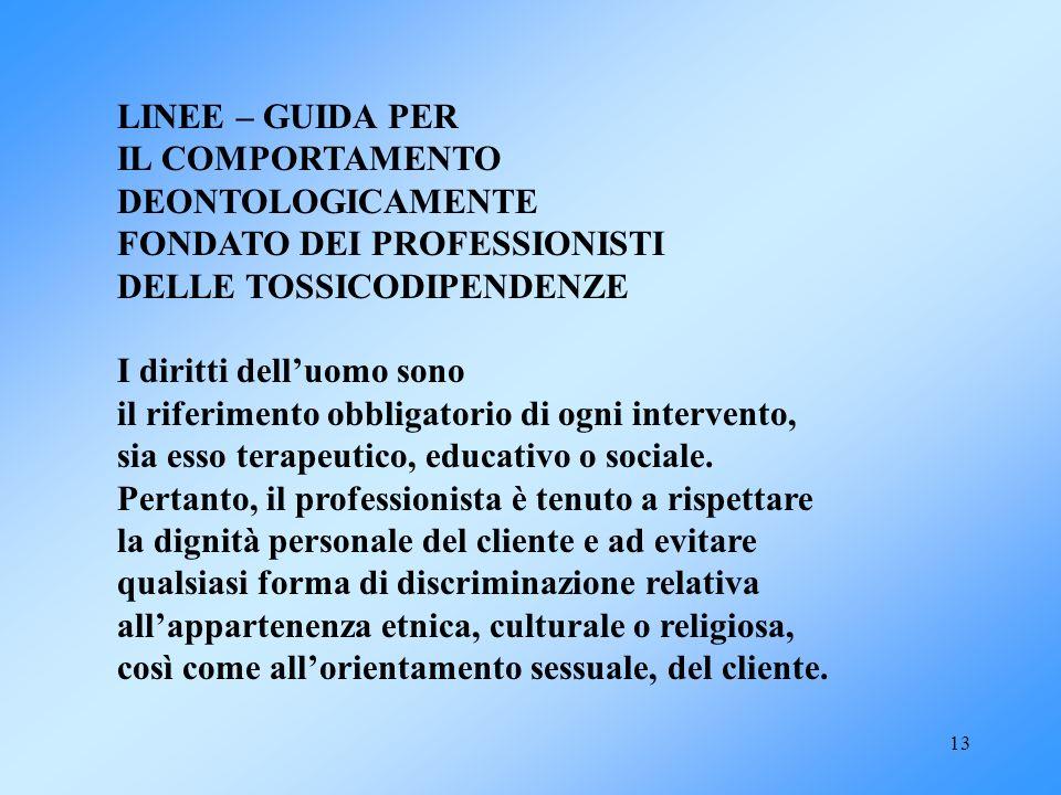 LINEE – GUIDA PER IL COMPORTAMENTO. DEONTOLOGICAMENTE. FONDATO DEI PROFESSIONISTI. DELLE TOSSICODIPENDENZE.