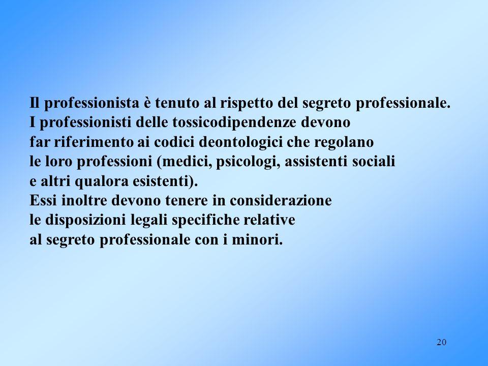 Il professionista è tenuto al rispetto del segreto professionale.