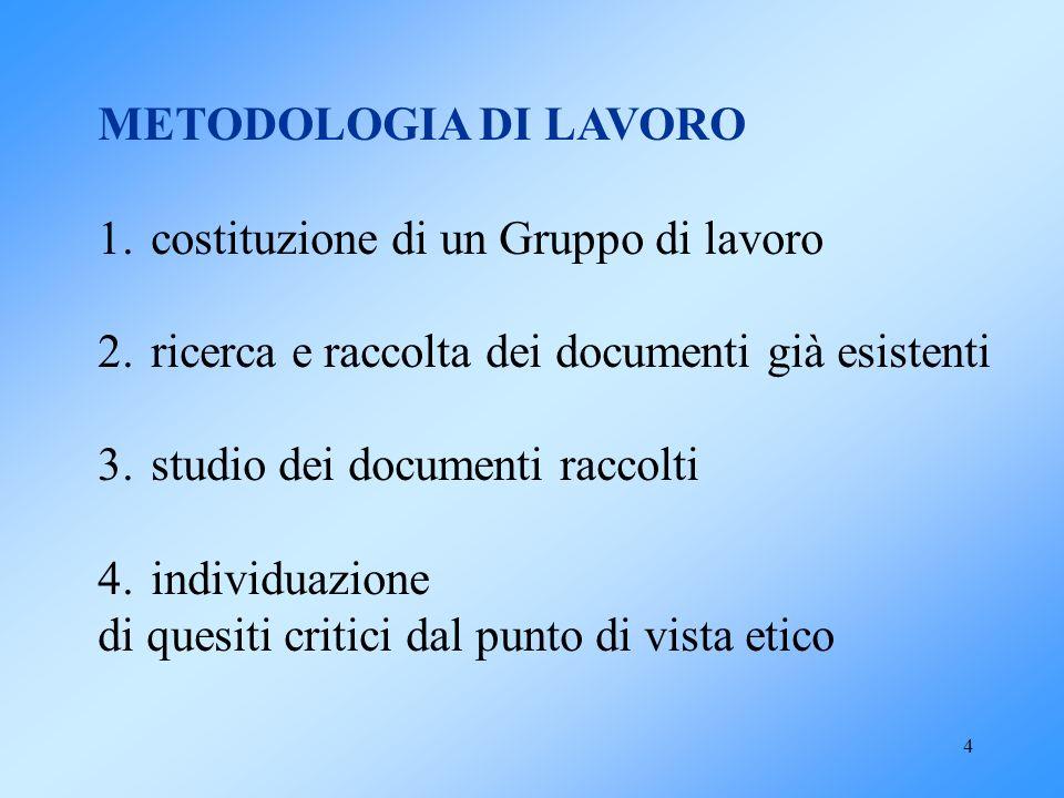METODOLOGIA DI LAVORO costituzione di un Gruppo di lavoro. ricerca e raccolta dei documenti già esistenti.
