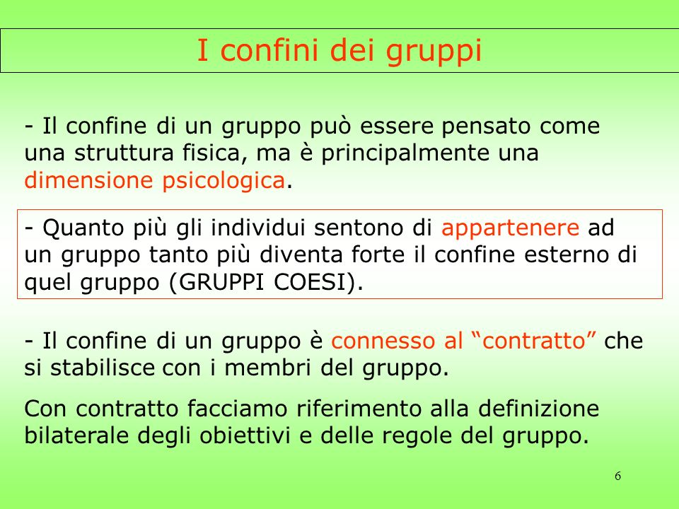 I confini dei gruppi - Il confine di un gruppo può essere pensato come una struttura fisica, ma è principalmente una dimensione psicologica.