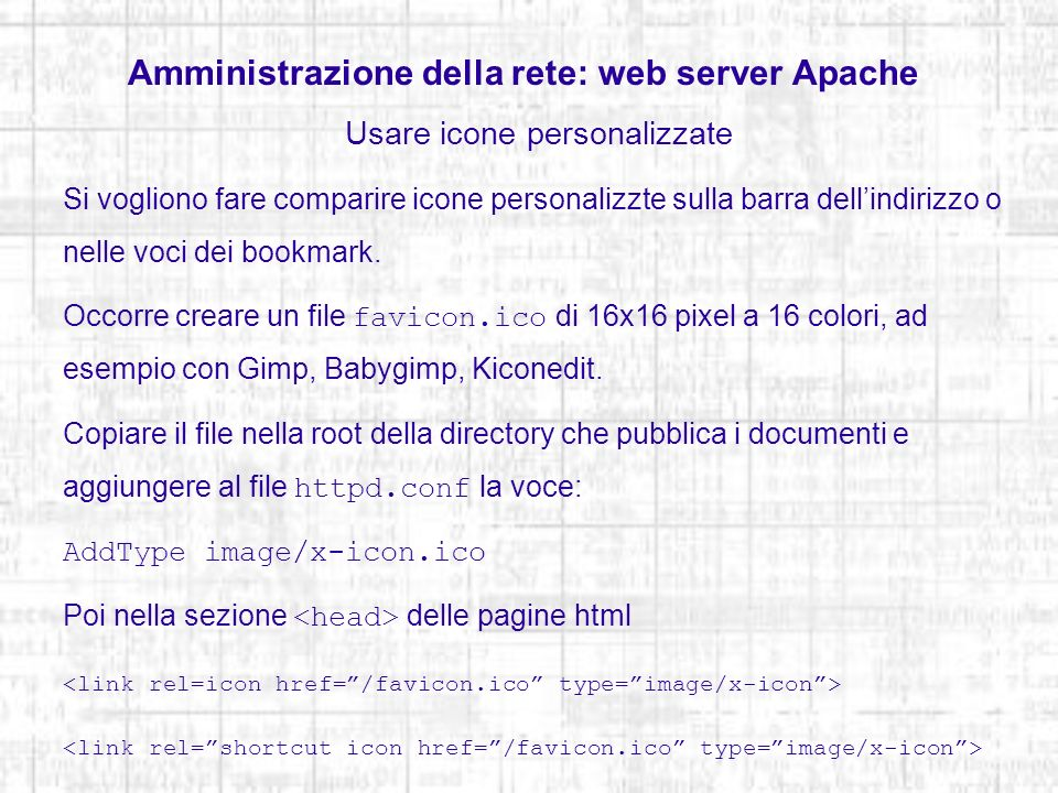 Amministrazione della rete: web server Apache
