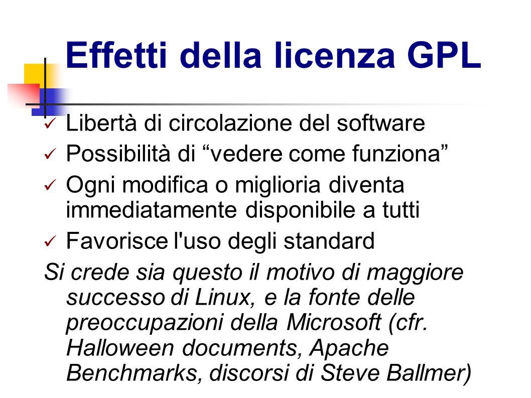 Effetti della licenza GPL