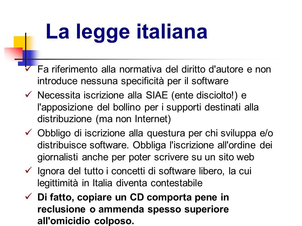La legge italiana Fa riferimento alla normativa del diritto d autore e non introduce nessuna specificità per il software.