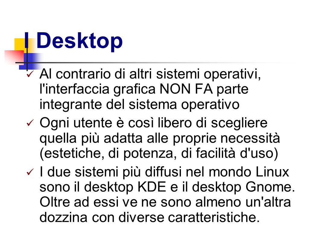 I Desktop Al contrario di altri sistemi operativi, l interfaccia grafica NON FA parte integrante del sistema operativo.
