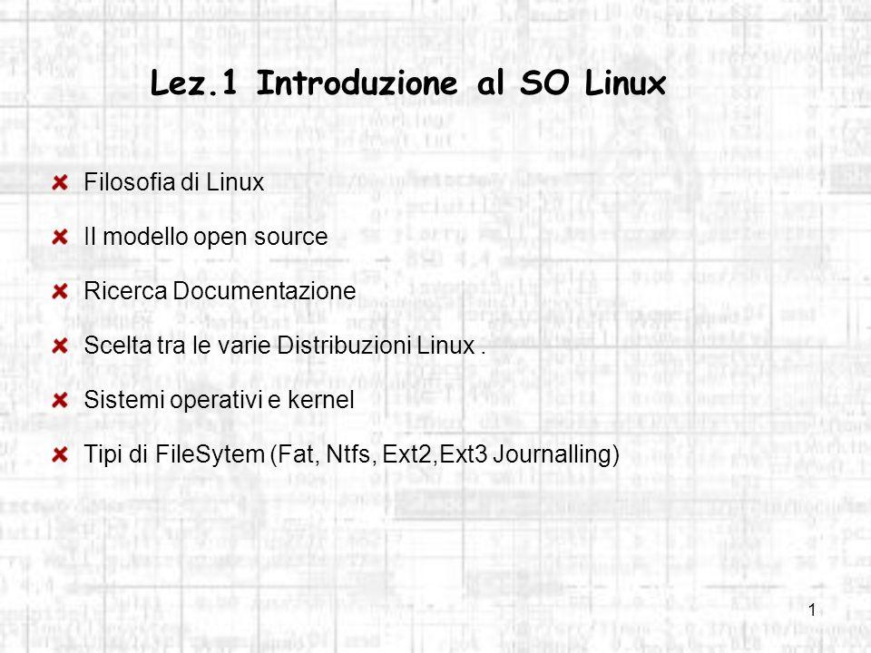 Lez.1 Introduzione al SO Linux