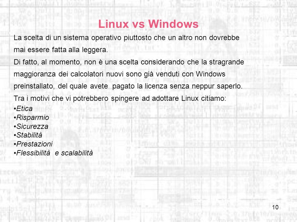Linux vs Windows La scelta di un sistema operativo piuttosto che un altro non dovrebbe mai essere fatta alla leggera.