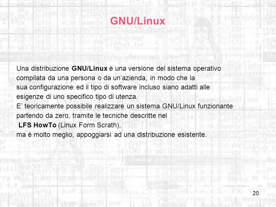GNU/Linux Una distribuzione GNU/Linux è una versione del sistema operativo. compilata da una persona o da un'azienda, in modo che la.
