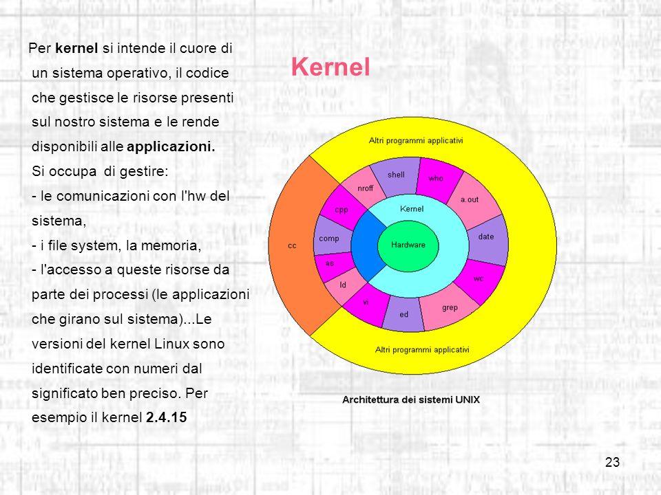 Per kernel si intende il cuore di un sistema operativo, il codice che gestisce le risorse presenti sul nostro sistema e le rende disponibili alle applicazioni. Si occupa di gestire: - le comunicazioni con l hw del sistema, - i file system, la memoria, - l accesso a queste risorse da parte dei processi (le applicazioni che girano sul sistema)...Le versioni del kernel Linux sono identificate con numeri dal significato ben preciso. Per esempio il kernel 2.4.15