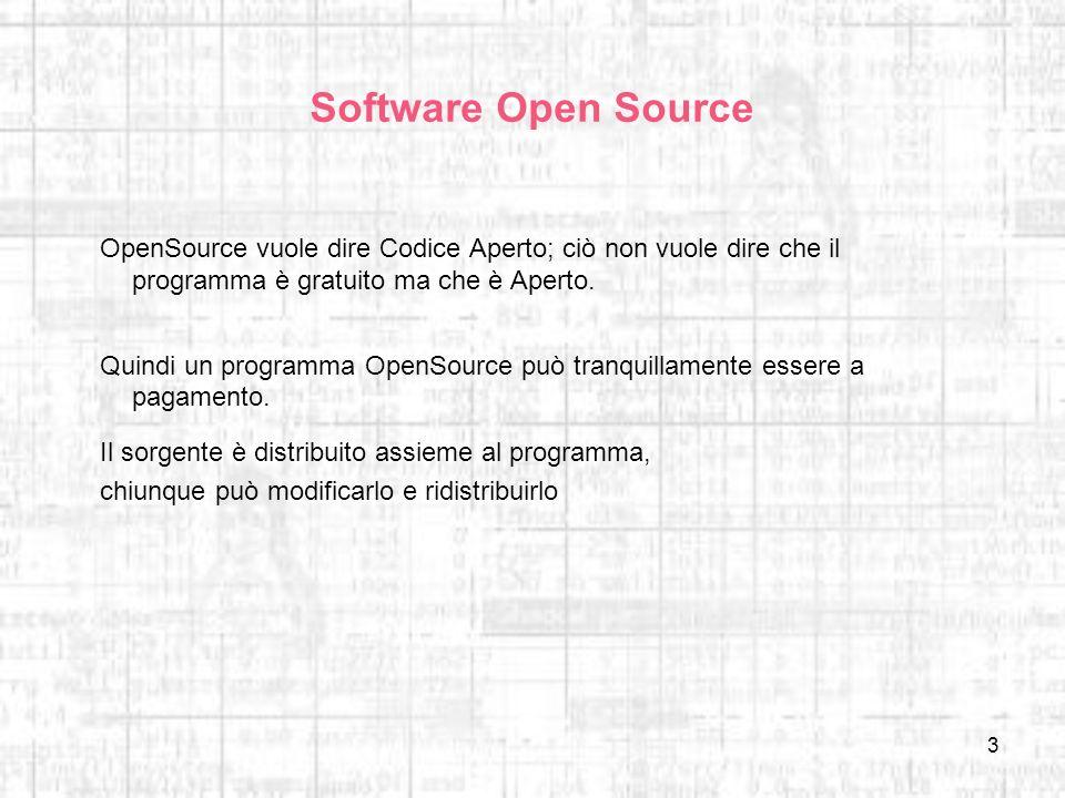 Software Open Source OpenSource vuole dire Codice Aperto; ciò non vuole dire che il programma è gratuito ma che è Aperto.