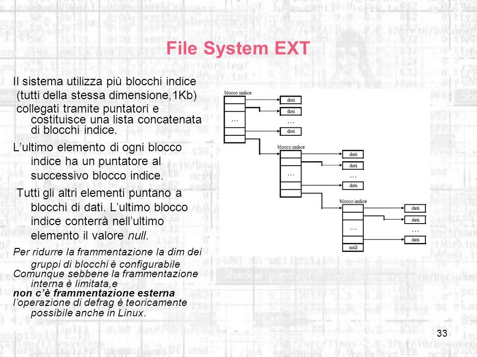 File System EXT Il sistema utilizza più blocchi indice