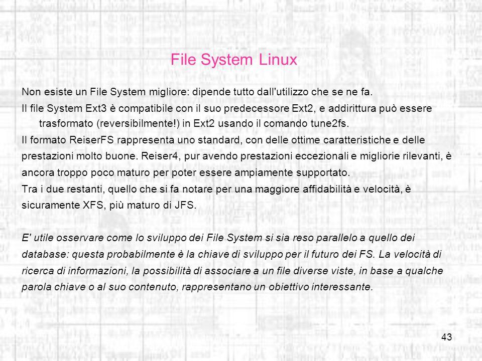 File System Linux Non esiste un File System migliore: dipende tutto dall utilizzo che se ne fa.
