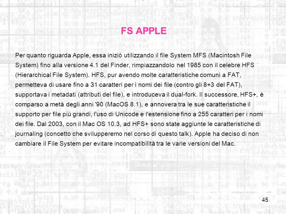 FS APPLE Per quanto riguarda Apple, essa iniziò utilizzando il file System MFS (Macintosh File.