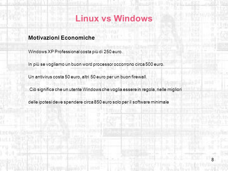 Linux vs Windows Motivazioni Economiche