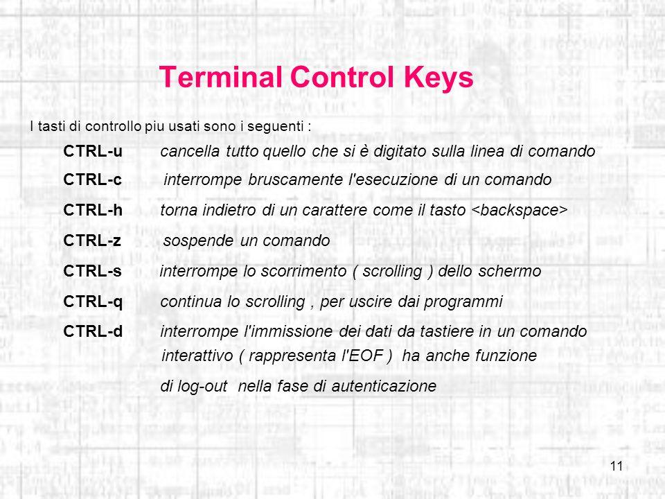 Terminal Control Keys I tasti di controllo piu usati sono i seguenti : CTRL-u cancella tutto quello che si è digitato sulla linea di comando.