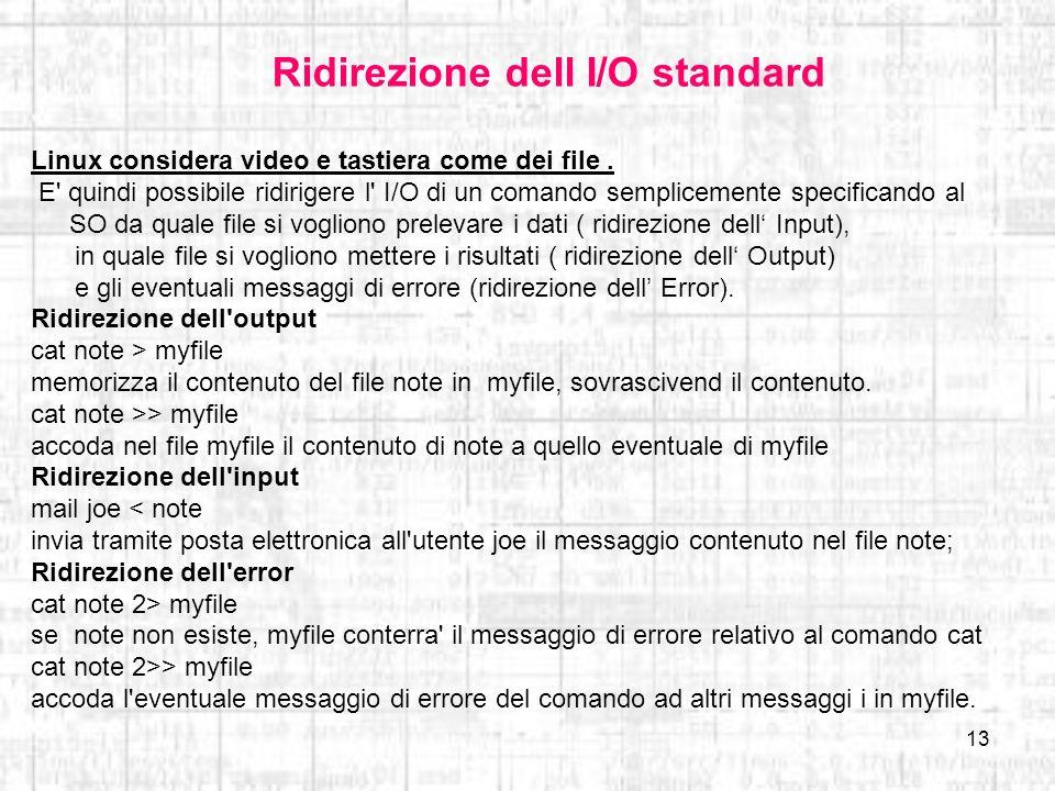 Ridirezione dell I/O standard