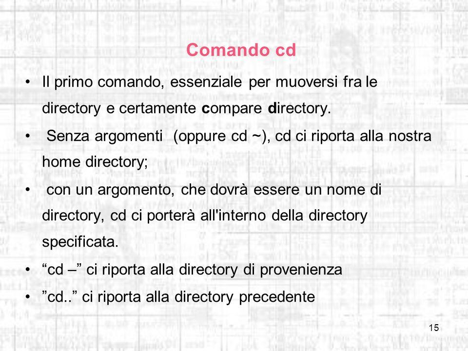 Comando cd Il primo comando, essenziale per muoversi fra le directory e certamente compare directory.