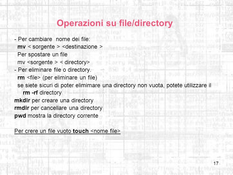 Operazioni su file/directory