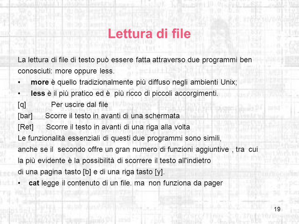 Lettura di fileLa lettura di file di testo può essere fatta attraverso due programmi ben. conosciuti: more oppure less.