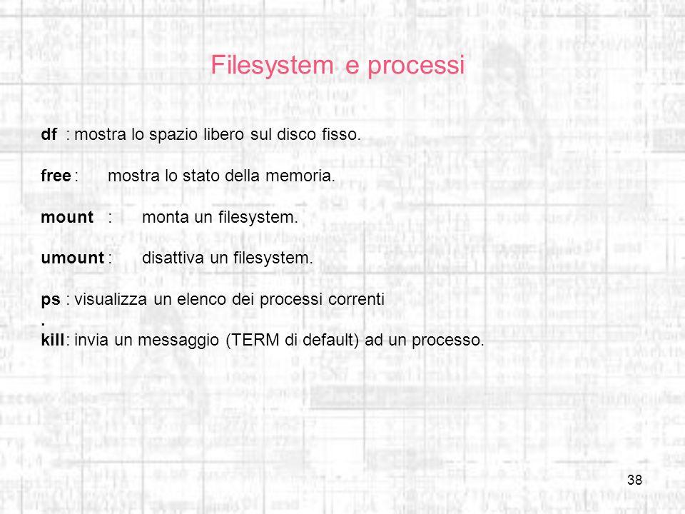 Filesystem e processi df : mostra lo spazio libero sul disco fisso.