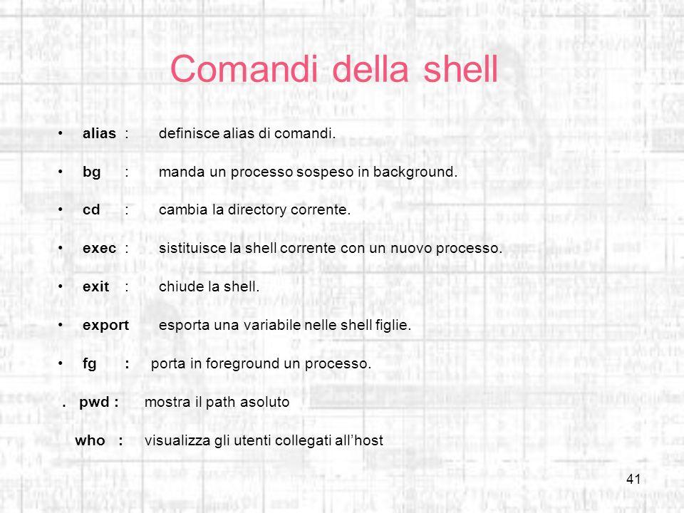 Comandi della shell alias : definisce alias di comandi.