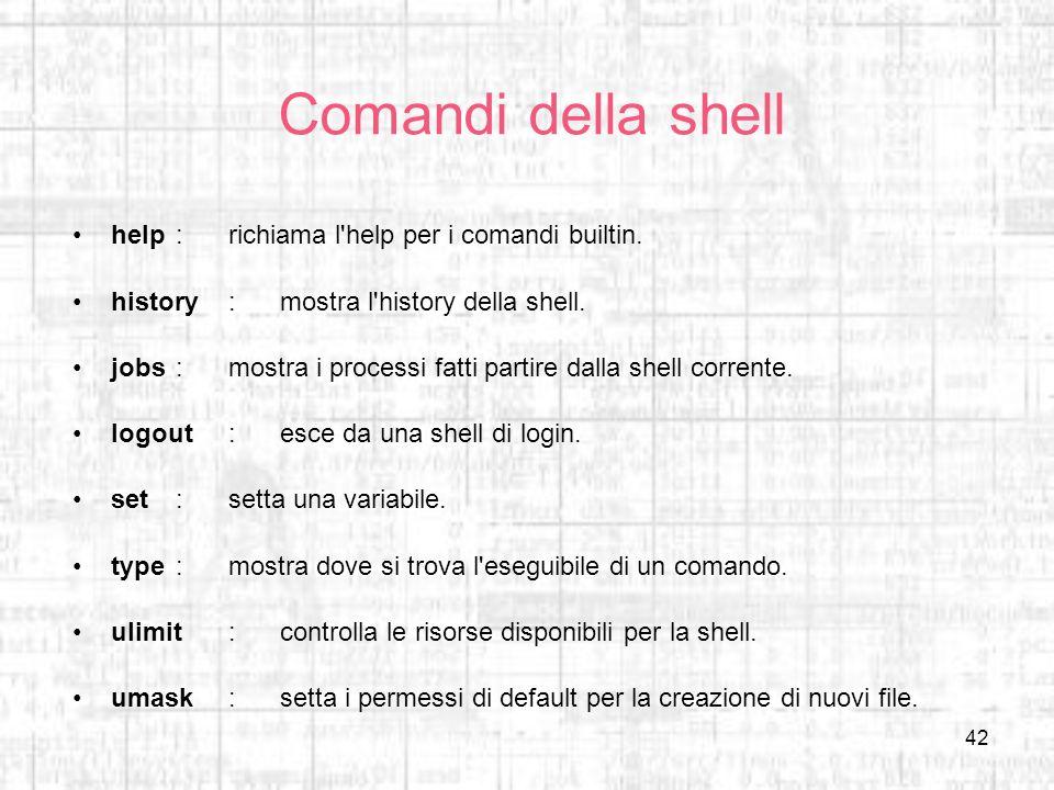 Comandi della shell help : richiama l help per i comandi builtin.