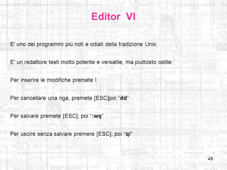 Editor VI E uno dei programmi più noti e odiati della tradizione Unix. E un redattore testi molto potente e versatile, ma piuttosto ostile.