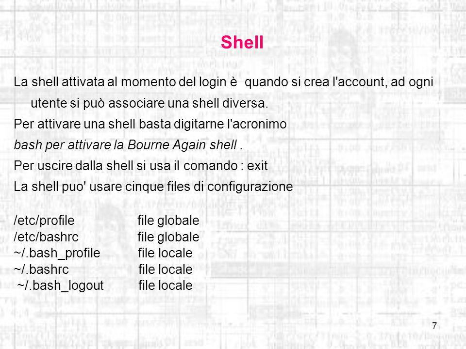 Shell La shell attivata al momento del login è quando si crea l account, ad ogni utente si può associare una shell diversa.