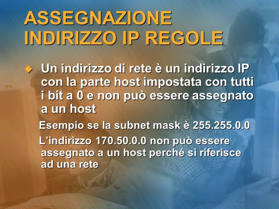 ASSEGNAZIONE INDIRIZZO IP REGOLE