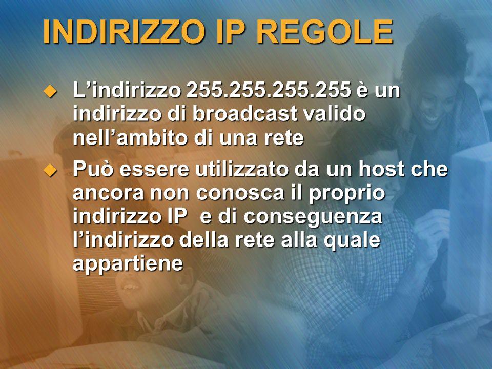 INDIRIZZO IP REGOLE L'indirizzo 255.255.255.255 è un indirizzo di broadcast valido nell'ambito di una rete.