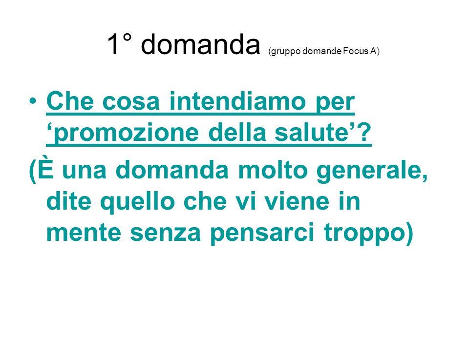 1° domanda (gruppo domande Focus A)