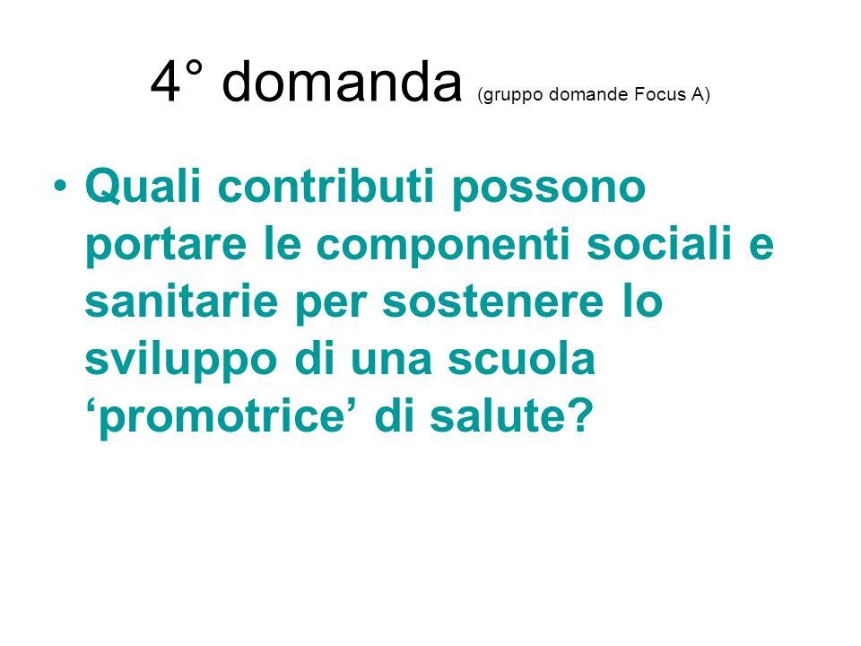 4° domanda (gruppo domande Focus A)