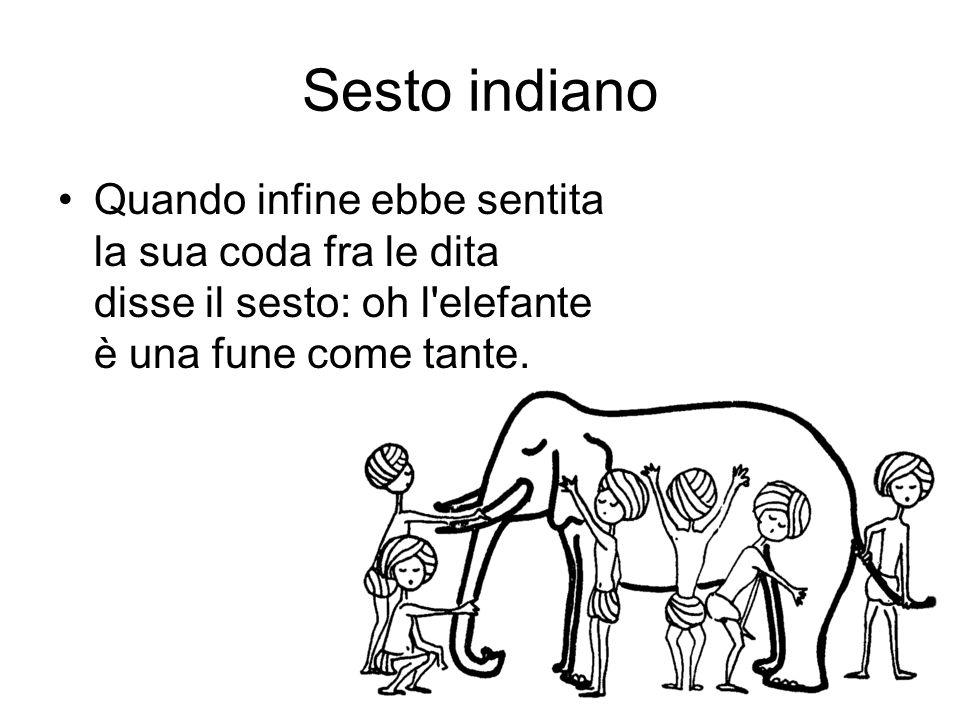 Sesto indianoQuando infine ebbe sentita la sua coda fra le dita disse il sesto: oh l elefante è una fune come tante.